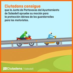 La junta de portavoces de Sabadell aprueba una moción de C's para reducir el daño de los guardarraíles.