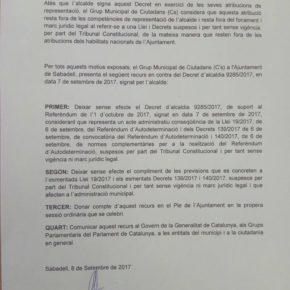Ciudadans (Cs) Sabadell presenta un recurs contra el decret d'alcaldia de suport al referèndum il·legal de l'1 d'octubre