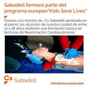 Ciutadans (Cs) Sabadell proposa que es formi a joves en la reanimació cardiopulmonar dins dels centres educatius